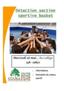 Read more about the article Détection Section Sportive de Basket