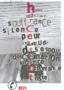 Mlle Poumeau en 6ème A  « Je me dis que j'aime bien mon affiche, je suis fière de moi car j'ai mis beaucoup de temps à la faire. J'ai pris des lettres, j'ai tout découpé, j'ai réuni tout ensemble et ça donne bien. Parce que moi je trouve que le harcèlement, il ne faut jamais faire ça. »