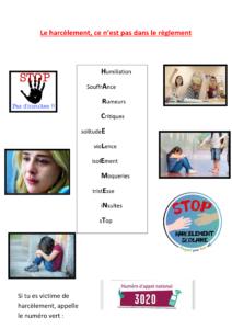 Mlle Sourigues-Chinon en 6ème A « J'ai fait mon affiche pour dire non au harcèlement et pour qu'on respecte les gens. »